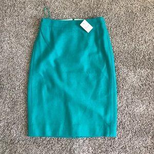 Jcrew green felt pencil skirt